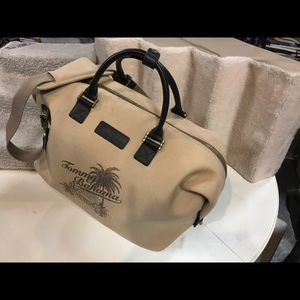 Tommy Bahama Bags - Tommy Bahamas tan with leather strap duffle bag